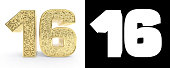 Golden number sixteen (number 16) on white background with drop shadow and alpha channel. 3D illustration.