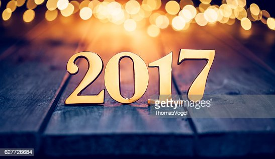 Golden numbers 2017 - Christmas Lights Wood New Year Gold