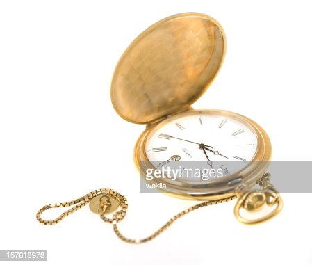 golden pocket watch isolated on white