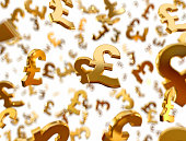 Golden pound sterling signs falling on the white background.