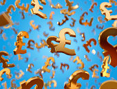 Golden pound sterling signs falling on the blue background.