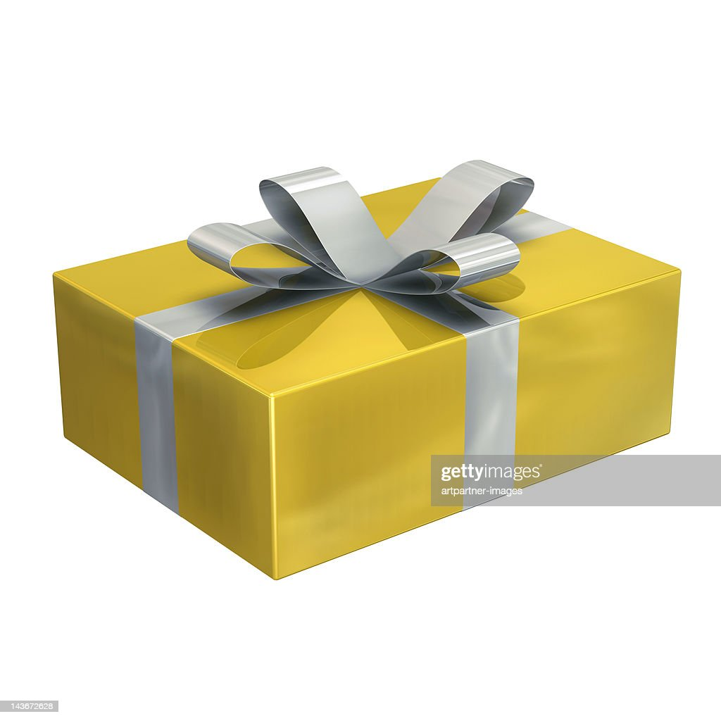 A golden present or parcel : Stock Photo