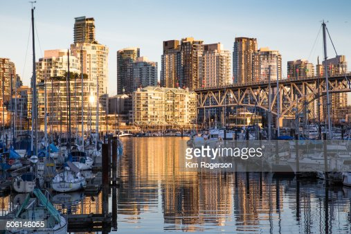 Golden Reflections on False Creek with boats