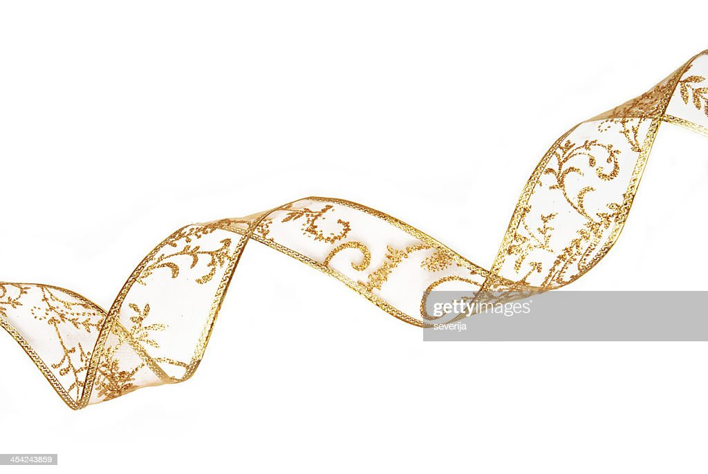 golden ribbon isolated on white : Stock Photo
