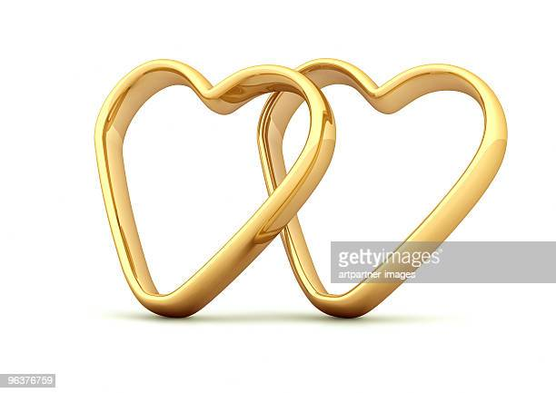2 golden rings on white background
