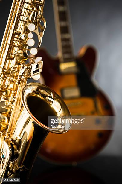 Golden sax and guitar ready for a jamming session