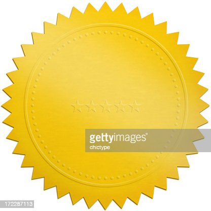 A golden seal on a white background