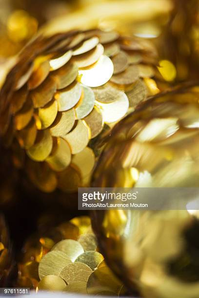Golden sequined Christmas ornaments