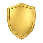 Golden Shield isolated on white background. 3D render