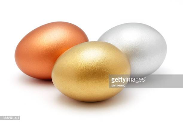 Golden silver and bronze eggs
