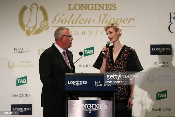 Golden Slipper Carnival ambassador Actress Elizabeth Debicki speaks on stage at the 2017 Longines Golden Slipper Barrier Draw Media Call at Rosehill...