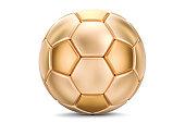Golden soccer ball, 3D rendering isolated on white background