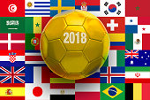 Golden soccer Ball on flags Background.