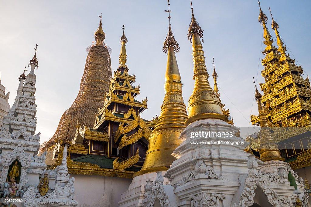 Golden spires of the Shwedagon Pagoda : Stock Photo