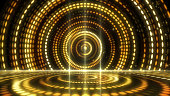 Futuristic abstract glittering moving golden and elegance lights pattern for stage performance show and video jockey  background and screensaver