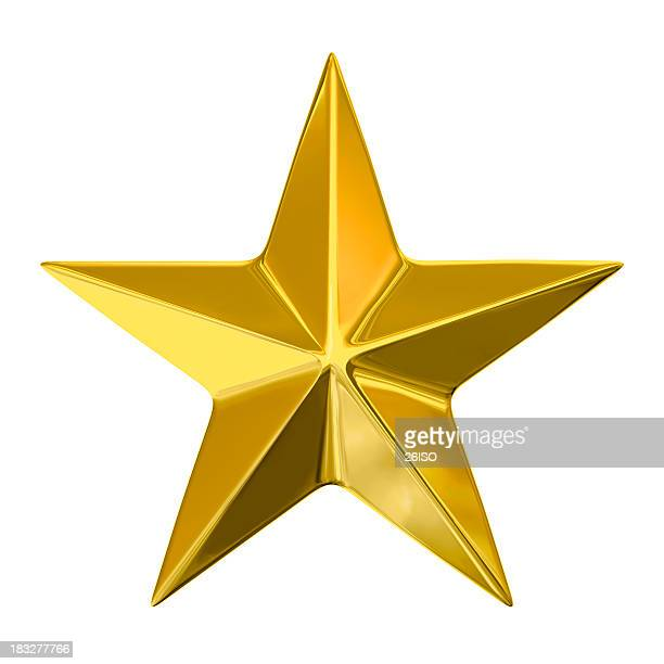 Golden Star on White Background, with Clipping Path (XXXL-49MPx)