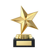 Golden star trophy award isolated on white. 3D rendering with clipping path
