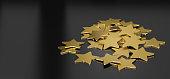 3D illustration of many golden stars over black background, horizontal image suitable for header