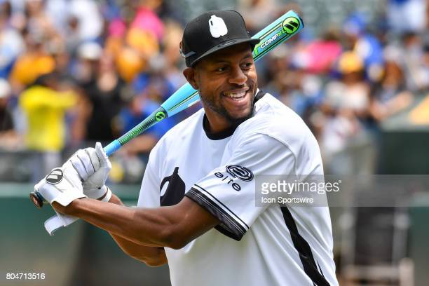 Golden State Warriors Andre Iguodala warms up during JaVale McGees JUGLIFE charity softball game on June 24 at OaklandAlameda County Coliseum in...