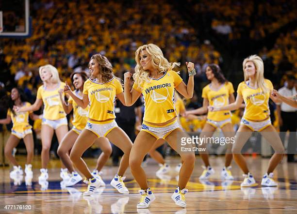 Golden State Warriors cheerleaders perform during Game Five against the Cleveland Cavaliers of the 2015 NBA Finals at ORACLE Arena on June 14 2015 in...