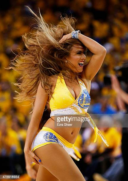 Golden State Warriors cheerleaders perform in the first half against the Cleveland Cavaliers during Game One of the 2015 NBA Finals at ORACLE Arena...