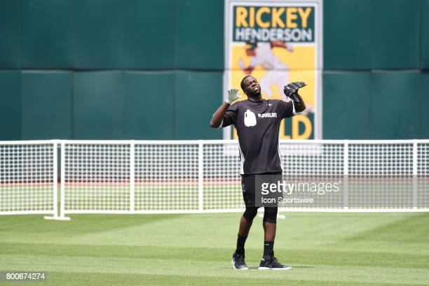 Golden State Warriors Draymond Green dances to the music during JaVale McGees JUGLIFE charity softball game on June 24 at OaklandAlameda County...