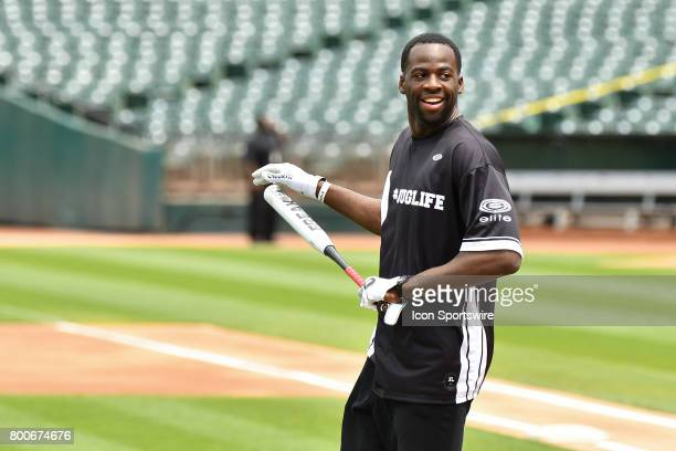 Golden State Warriors Draymond Green looks on during JaVale McGees JUGLIFE charity softball game on June 24 at OaklandAlameda County Coliseum in...