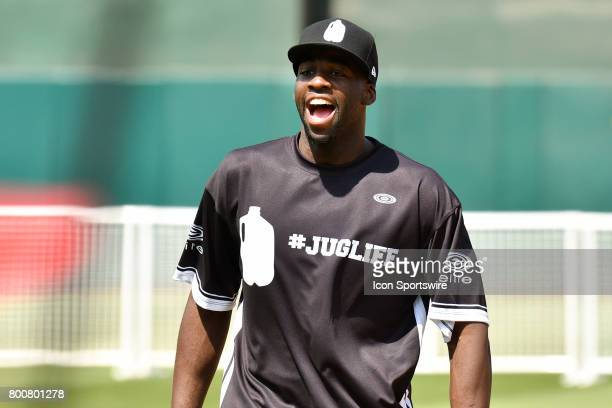 Golden State Warriors Draymond Green shouts at his teammates during JaVale McGees JUGLIFE charity softball game on June 24 at OaklandAlameda County...