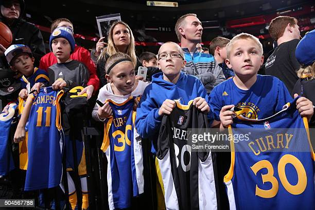 Golden State Warriors fans attend the game against the Portland Trail Blazers on January 8 2016 at the Moda Center Arena in Portland Oregon NOTE TO...