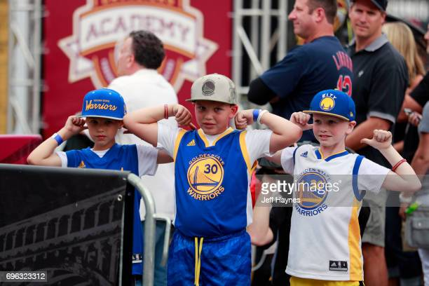 Golden State Warriors Fans pose for a photo before the game against the Cleveland Cavaliers in Game Four of the 2017 NBA Finals on June 9 2017 at...