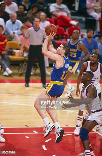 Golden State Warriors' forward Chris Mullin makes a jumpshot against the Washington Bullets at Capital Center circa the 1990's in Washington DC NOTE...