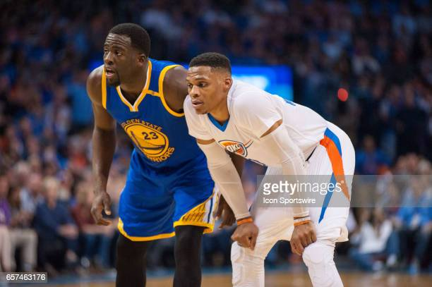 Golden State Warriors Forward Draymond Green and Oklahoma City Thunder Guard Russell Westbrook in game on March 20 at the Chesapeake Energy Arena...