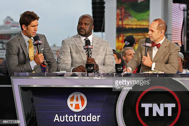 Golden State Warriors General Manager Bob Myers and TNT Analysts Shaquille O'Neal and Ernie Johnson talk during the Opening Night Tipoff of 201516...