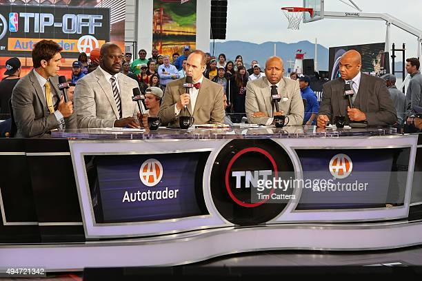 Golden State Warriors General Manager Bob Myers and TNT Analysts Shaquille O'Neal Kenny Smith Charles Barkley and Ernie Johnson talk during the...