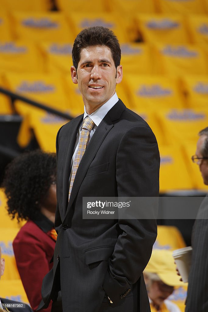 Golden State Warriors General Manager <a gi-track='captionPersonalityLinkClicked' href=/galleries/search?phrase=Bob+Myers+-+General+Manager&family=editorial&specificpeople=13652794 ng-click='$event.stopPropagation()'>Bob Myers</a> prior to the game between the Denver Nuggets and Golden State Warriors in Game Six of the Western Conference Quarterfinals during the 2013 NBA Playoffs on May 2, 2013 at Oracle Arena in Oakland, California.