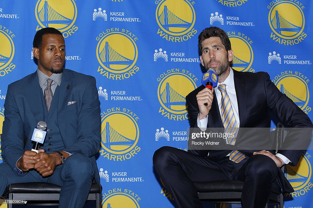 Golden State Warriors General Manager Bob Myers speaks at an introductory press conference for Andre Iguodala #9 of the Golden State Warriors on July 11, 2013 in Oakland, California.