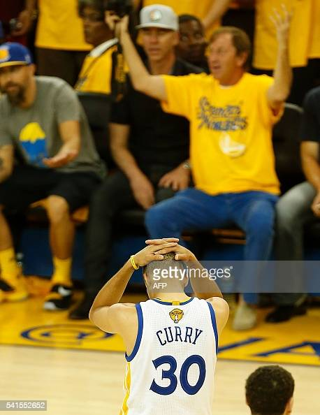 Golden State Warriors guard Stephen Curry reacts after being called for a foul during the second quarter in Game 7 of the NBA Finals against the...