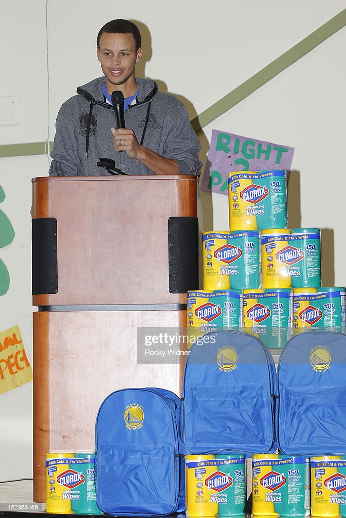 Golden State Warriors guard Stephen Curry speaks to students at Garfield Elementary on September 17, 2012 in Oakland, California.