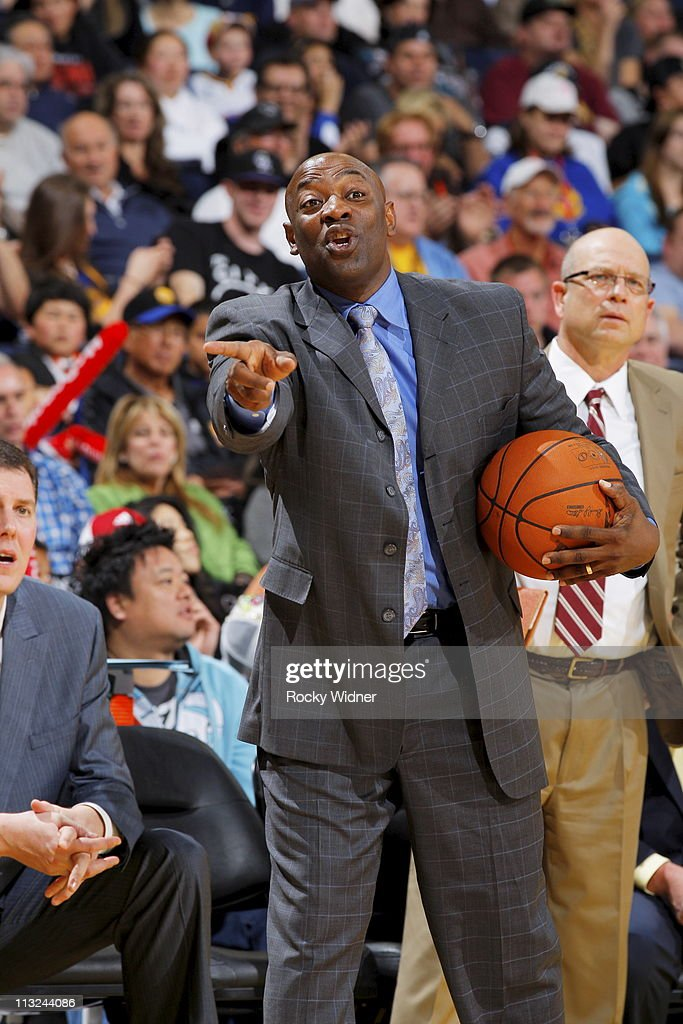 Golden State Warriors head coach <a gi-track='captionPersonalityLinkClicked' href=/galleries/search?phrase=Keith+Smart&family=editorial&specificpeople=182522 ng-click='$event.stopPropagation()'>Keith Smart</a> reacts after a play against the Sacramento Kings on April 10, 2011 at Oracle Arena in Oakland, California.