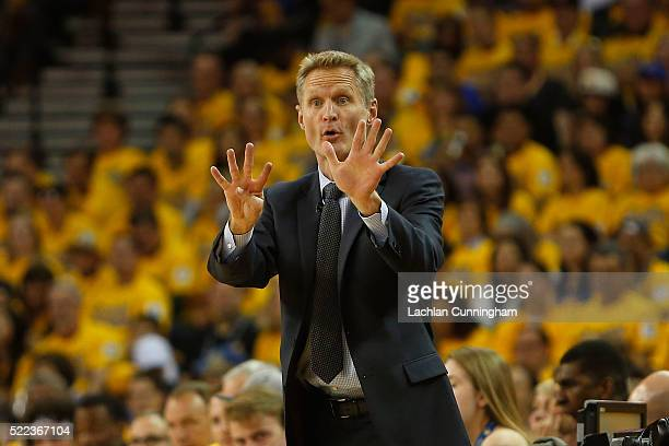 Golden State Warriors Head Coach Steve Kerr gives directions in the first quarter in Game Two of the Western Conference Quarterfinals during the 2016...