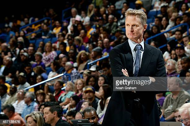 Golden State Warriors head coach Steve Kerr looks on during the game against the Los Angeles Lakers on October 12 2012 at Citizens Business Bank...