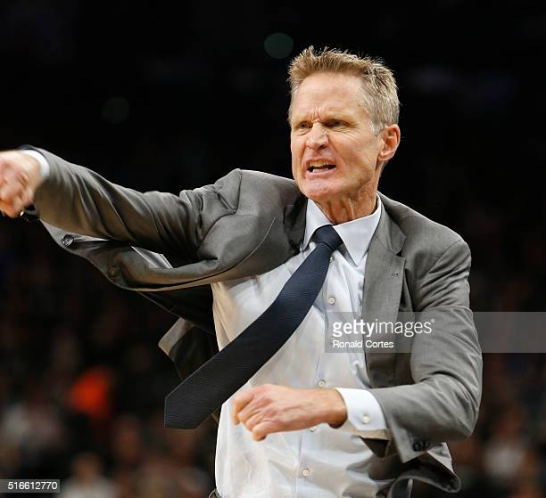 Golden State Warriors head coach Steve Kerr reacts during game against San Antonio Spurs at ATT Center on March 19 2016 in San Antonio Texas NOTE TO...
