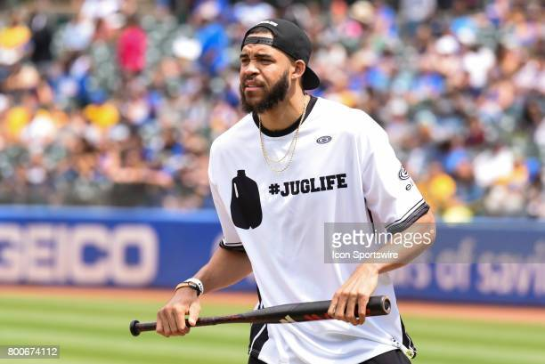Golden State Warriors JaVale McGee at bat during JaVale McGees JUGLIFE charity softball game on June 24 at OaklandAlameda County Coliseum in Oakland...