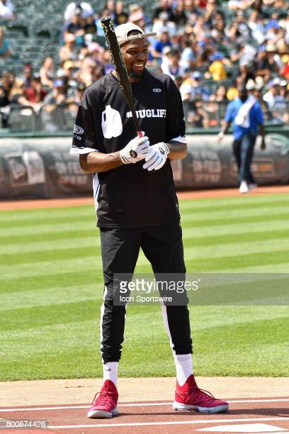 Golden State Warriors Kevin Durant at bat during JaVale McGees JUGLIFE charity softball game on June 24 at OaklandAlameda County Coliseum in Oakland...