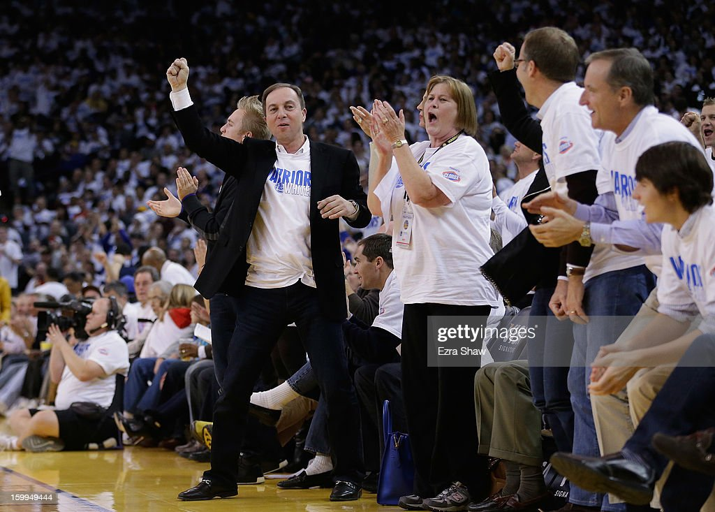 Golden State Warriors owner <a gi-track='captionPersonalityLinkClicked' href=/galleries/search?phrase=Joe+Lacob&family=editorial&specificpeople=7346074 ng-click='$event.stopPropagation()'>Joe Lacob</a> cheers during a game against the Los Angeles Clippers on January 2, 2013 at Oracle Arena in Oakland, California.