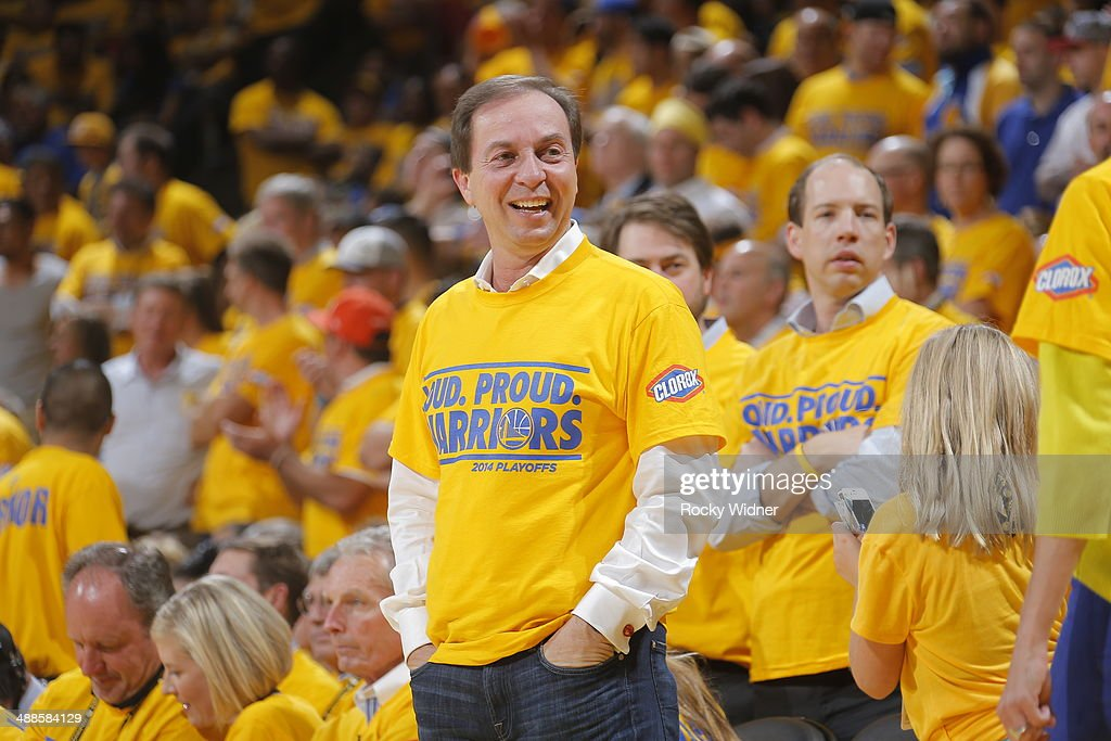 Golden State Warriors owner Joe Lacob cheers his team on against the Los Angeles Clippers in Game Six of the Western Conference Quarterfinals during the 2014 NBA Playoffs at Oracle Arena on May 1, 2014 in Oakland, California.
