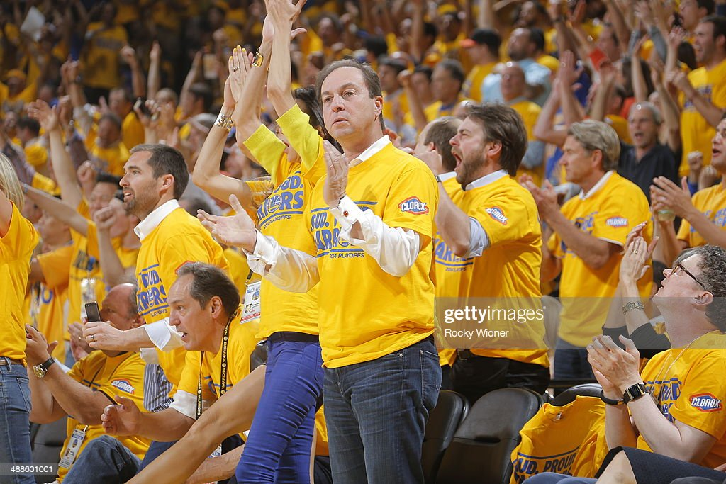 Golden State Warriors owner Joe Lacob cheers on his team against the Los Angeles Clippers in Game Six of the Western Conference Quarterfinals during the 2014 NBA Playoffs at Oracle Arena on May 1, 2014 in Oakland, California.