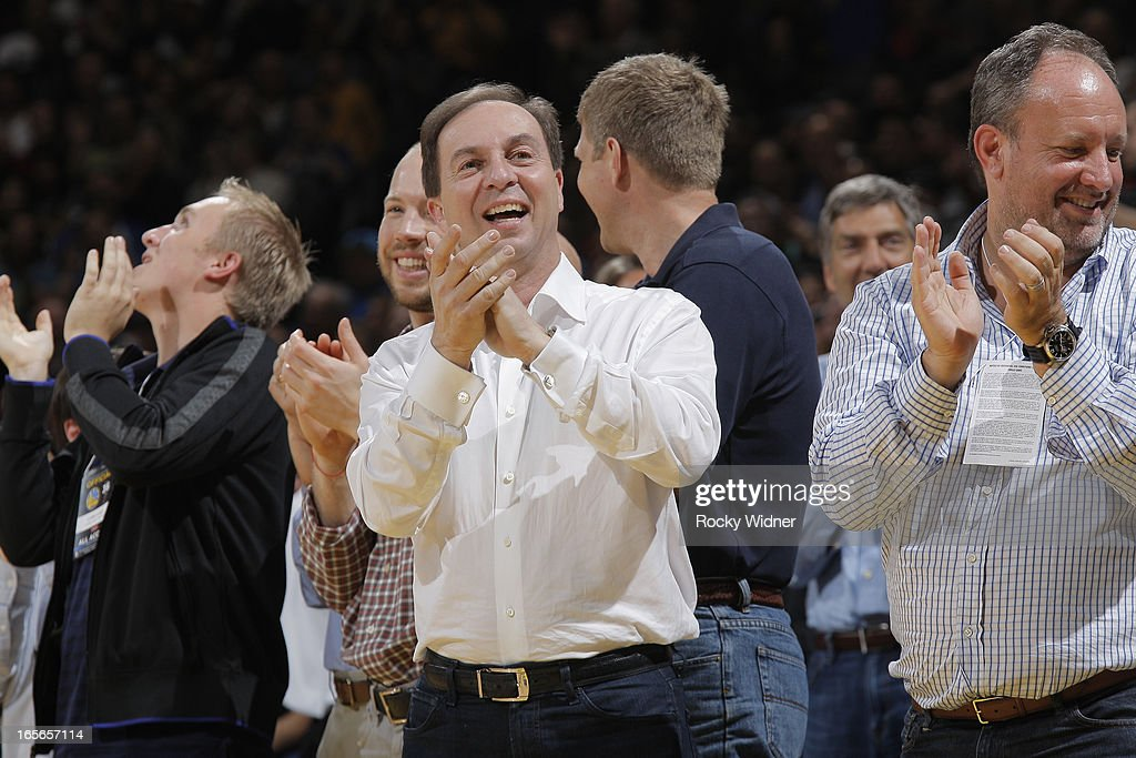 Golden State Warriors owner <a gi-track='captionPersonalityLinkClicked' href=/galleries/search?phrase=Joe+Lacob&family=editorial&specificpeople=7346074 ng-click='$event.stopPropagation()'>Joe Lacob</a> cheers on his team as they face off against the Portland Trail Blazers on March 30, 2013 at Oracle Arena in Oakland, California.