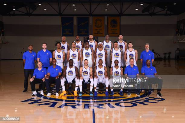 Golden State Warriors players coaches and staff pose for the 20162017 team photograph on April 11 2017 at the Warriors Practice Facility in Oakland...