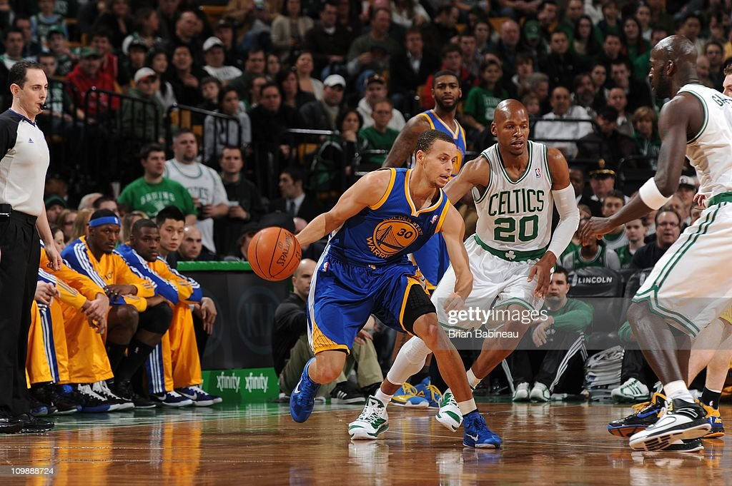 Golden State Warriors point guard Stephen Curry #30 drives to the basket during the game against the Boston Celtics on March 4, 2011 at the TD Garden in Boston, Massachusetts. The Celtics won 107-103.